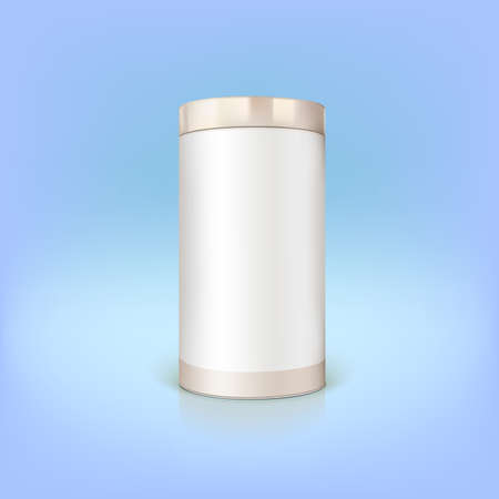Round tin packaging. Container cylindrical shaped, vector illustration. Illustration