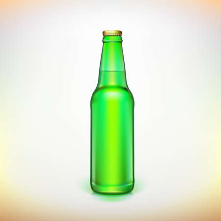 Glass beer green bottle. Product packing. Ready for your design. Vector