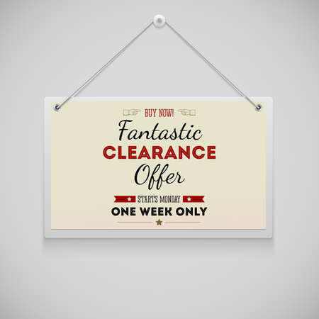 Hanging on the wall advertisement board, fantastic clearance offer Vector