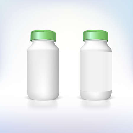 pillbox: Bottle for dietary supplements and medicines. Vector templates for your presentation and design.