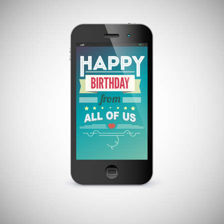 messege: Birthday greeting card on screen of mobile phone Illustration