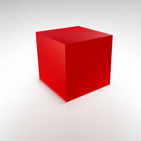 Red cube with reflections and shadows, vector illustration Illustration