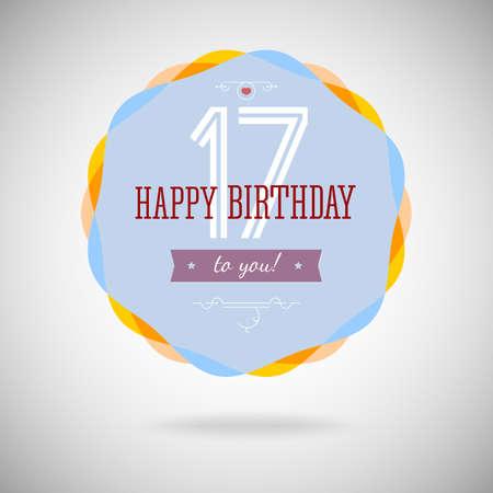 congratulatory: Congratulatory badge for the seventeen-year. 17 years happy birthday. Congratulatory sign for anniversary. Vintage vector typography.