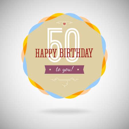Congratulatory badge for the fiftieth anniversary. 50 years happy birthday. Congratulatory sign for anniversary. Vintage vector typography. Ilustração