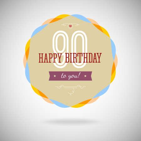 90 years: Distintivo di congratulazioni per l'anniversario novanta anni. 90 anni felice compleanno. Segno di congratulazioni per l'anniversario. Vintage vector tipografia.