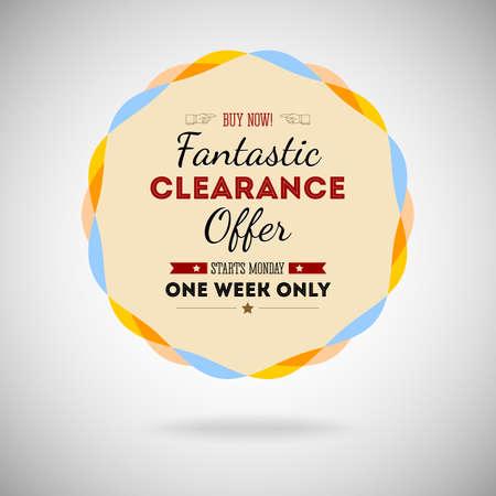Fantastic clearance offer badge, vintage style for marketing Vector