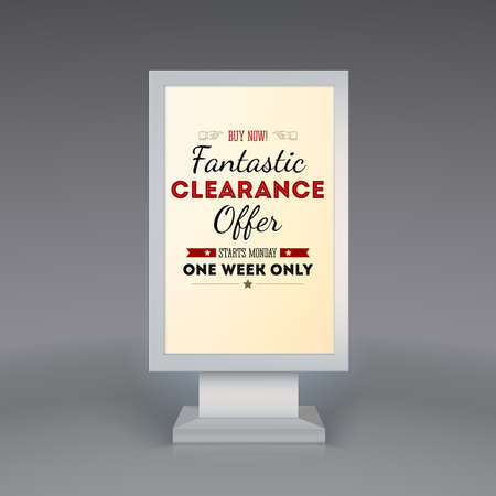 Advertising billboard with the word Fantastic clearance offer, starts in monday