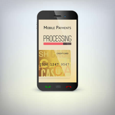 Mobile phone, payment process via a smartphone Vector