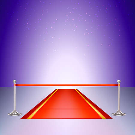 introducing: Red carpet with a scarlet ribbon. Colorful template for your presentations Illustration