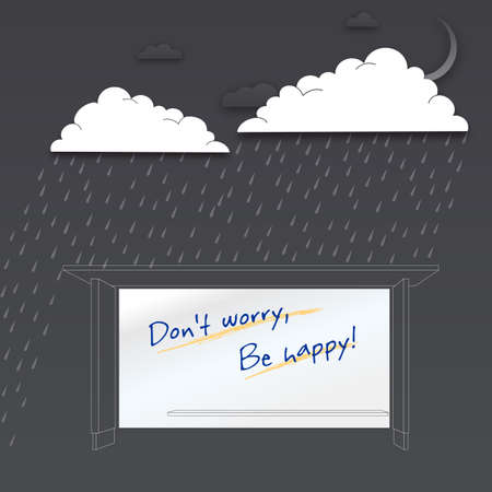 Dont worry be happy. Positive poster, vector illustration Vector