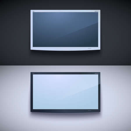 Led tv hanging on the wall. Two color, for your design Vector