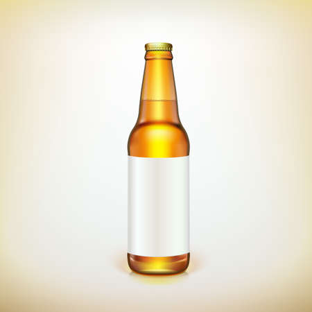 Glass beer brown bottle and label Illustration