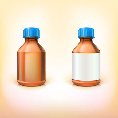 Vial for drugs. Two medical bottles with blank label on white background Illustration