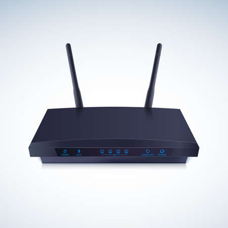 hub computer: Realisti Wireless Router. Wi-Fi Router detailed, vector illustration