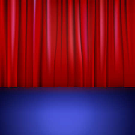 Stage with red curtain. Vector illustration for backgrounds and wallpapers. Vector