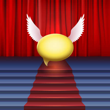 Stage with red carpet. Bubble with wings, abstract illustration Vector