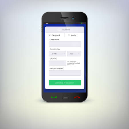 Phone with mobile wallet online shopping on the screen Vector