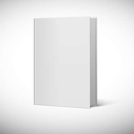 Blank book cover. Book rotated in three quarters on a white background.