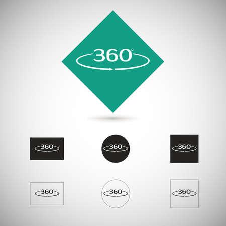 Angle 360 degrees sign. Geometry symbol. Full rotation. Ilustração