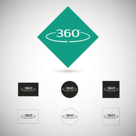 Angle 360 degrees sign. Geometry symbol. Full rotation. Illustration