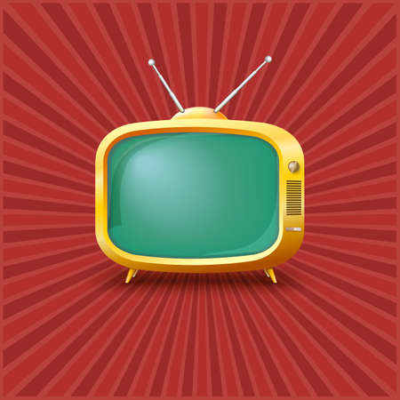 Yellow TV on a vintage background with rays. Vector