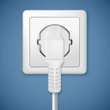 plugged: Electrical outlet with plug. Close-up power plug plugged in a socket Illustration