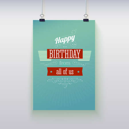 Poster hanging on a rope with birthday greetings. Vector