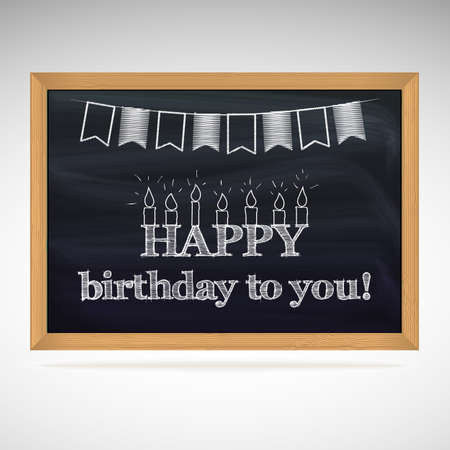 Birthday greetings written in chalk on a blackboard. Holiday candles and flags Vector