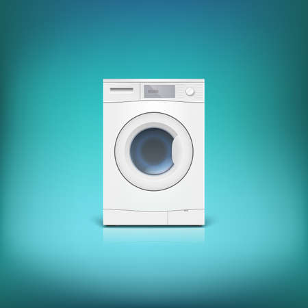 Washing machine isolated. Front view, close-up. Editable vector Illustration