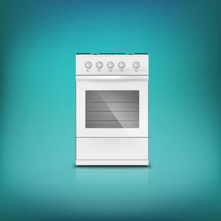 gas cooker: Gas cooker. Front view, white classical gas stove.