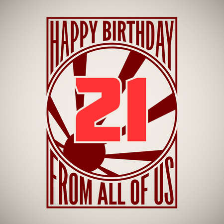 Retro poster. Birthday greeting, twenty-one years, banner. Vector