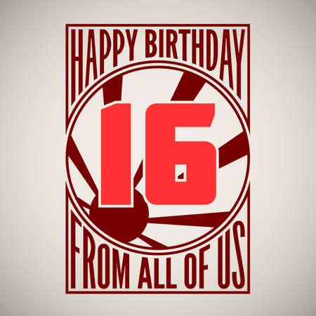 sixteen: Retro poster. Birthday greeting, sixteen years, banner.