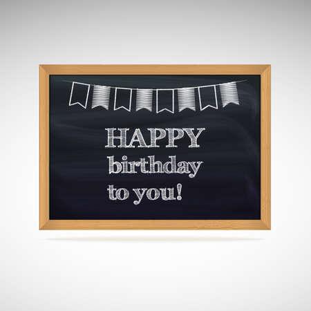 Birthday greetings written in chalk on a blackboard Vector