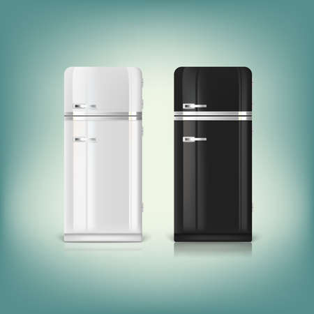 Collection of stylish retro refrigerators. Front view of a retro refrigerator. Vector
