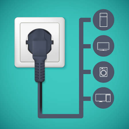 Flat icons with silhouettes of electric appliances. Ilustração