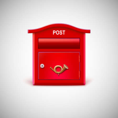 posthorn: Red mailbox with the postal horn