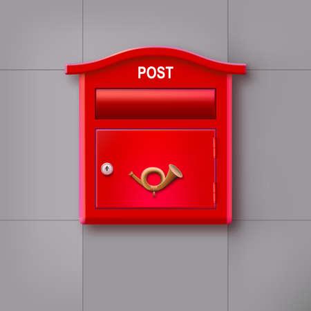 buzon de correos: Caja roja que cuelga en la pared con el cuerno postal logo.