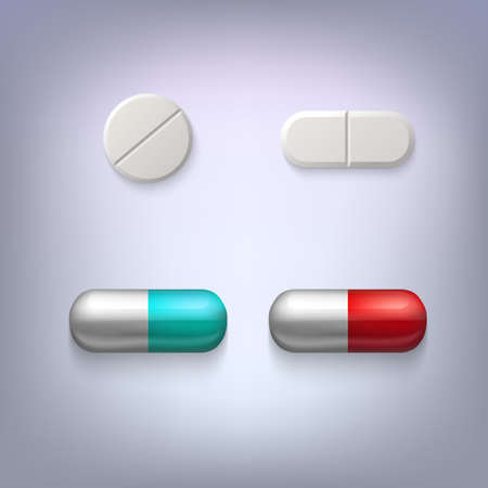 blue pills: Tablets and pills vector illustration, isolated on colored background
