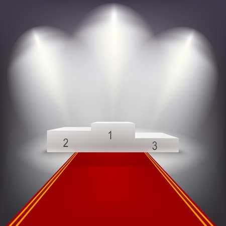 Illuminated business winners podium in dark room with red carpet.. Vector illutration.