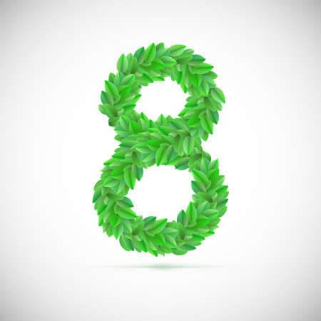 figure of eight: Figure eight, made up of green leaves, vector illustration Illustration