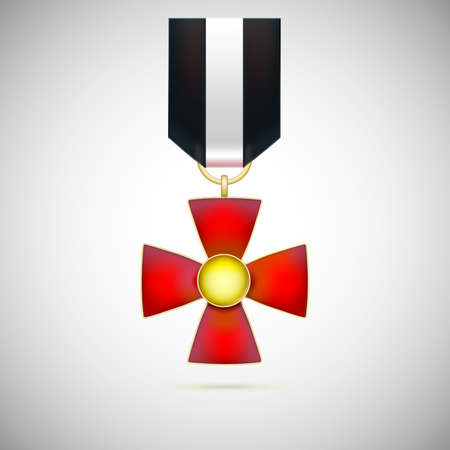 Red Cross, illustration of a military medal of bravery, honor and valor