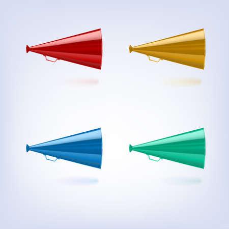 Megaphones set different colors   Vector