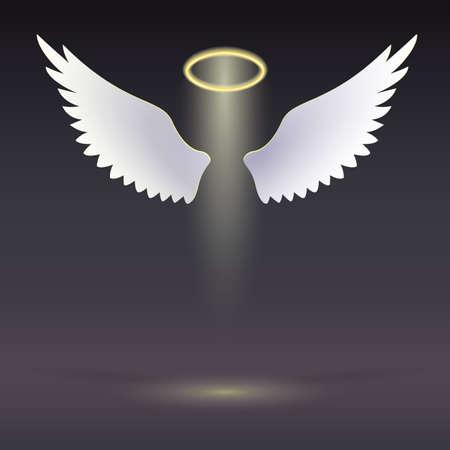 Engelenvleugels met gouden halo zweven in het donker Wings en gouden halo