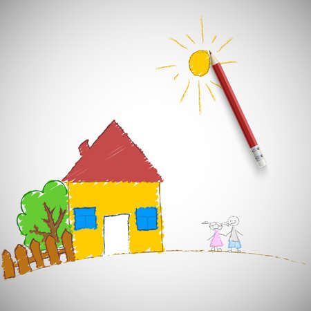 Children painting  Children s drawing a pencil, illustration  Vector