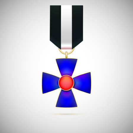 valor: Blue Cross, illustration of a military medal of bravery, honor and valor