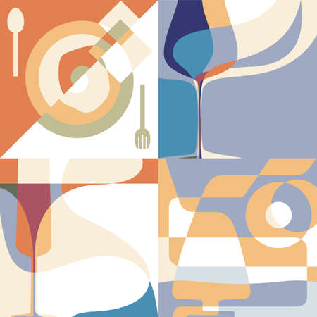 art abstract: Set of backgrounds for the menu  Silhouettes of glasses and a plate with abstract shapes