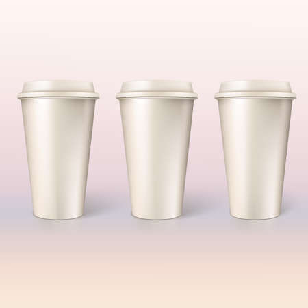 out of use: Disposable cups for coffee, closeup  Vector for your design