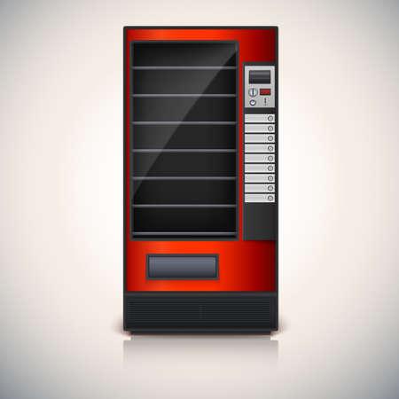 distribution automatique: Distributeur automatique avec des �tag�res, rouge coloor Vector ic�ne, eps10 Illustration