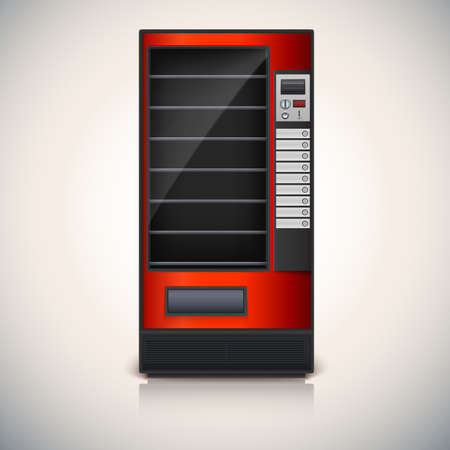 Vending Machine with shelves, red coloor  Vector icon, eps10 Vector