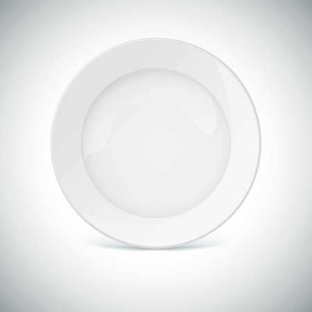 White plate with shadow  Eps 10 vector illustration